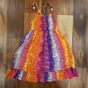 Tiedye dress Shibori Orange pink purple